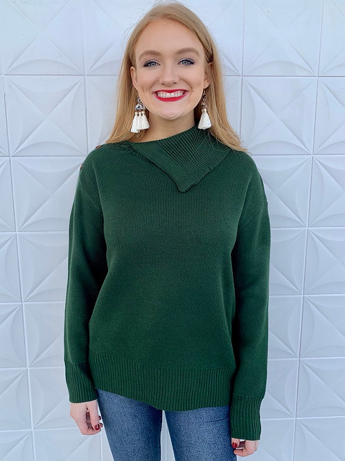 Collared Knit Sweater Top Forest Green