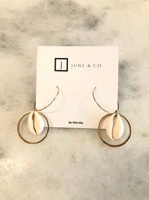 Dangle Shell Gold Hoop Earrings