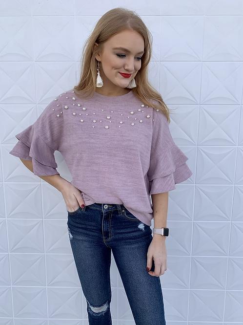 Mauve Pearl Ruffle Sweater