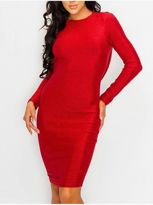 Red Metallic Open Back Dress