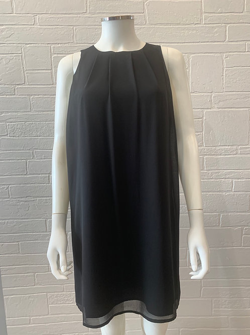 Black Pleated Shift Dress