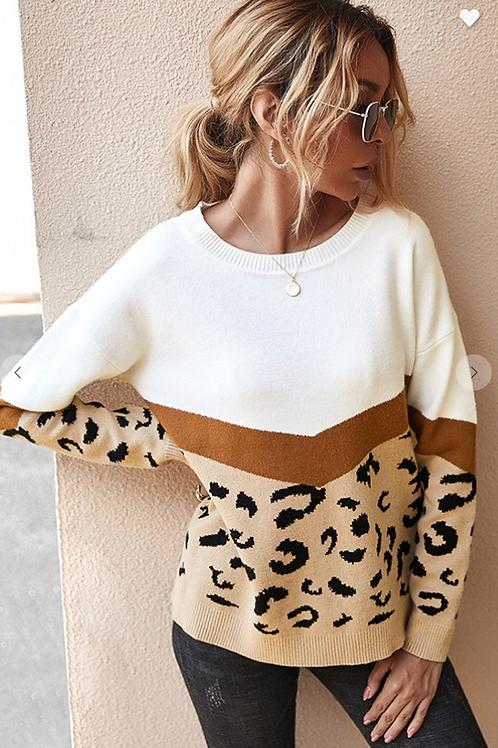Khaki Leopard Knitted Sweater