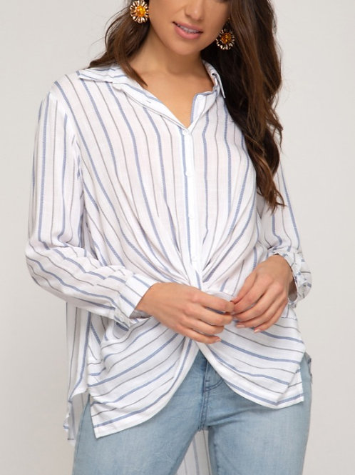 Blue Striped Front Cross Collared Blouse