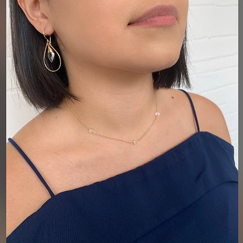 Three Crystal Herkimer Diamond Necklace