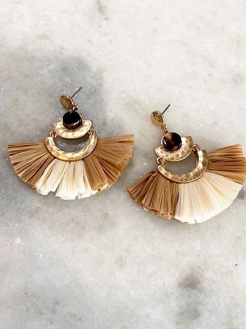 Tan Beige Woven Earrings