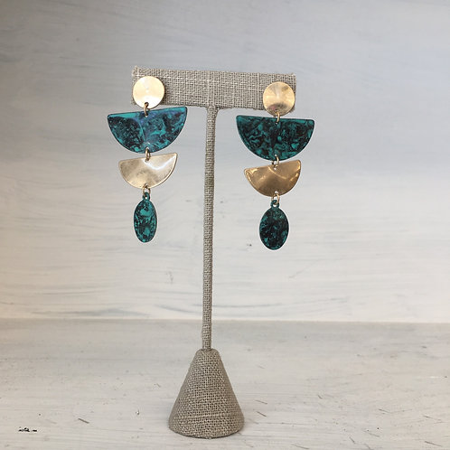 Aztec Turquoise Gold Earrings
