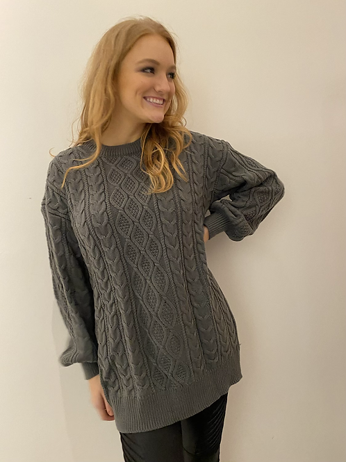 Grey Cable Tunic Sweater