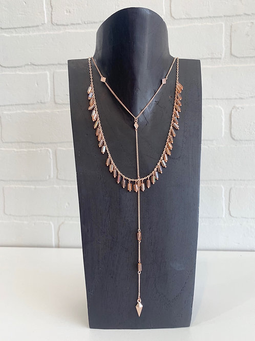 Rose Gold Layered Drop Necklace