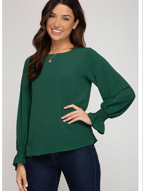 Green cinch wrist blouse