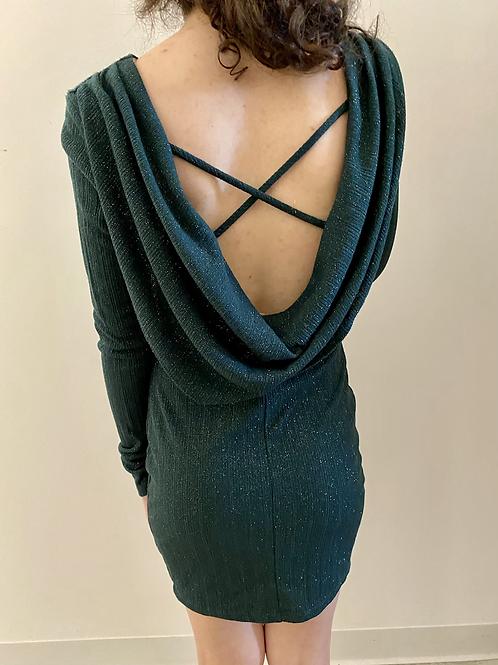Green Long Sleeve Sparkle Dress