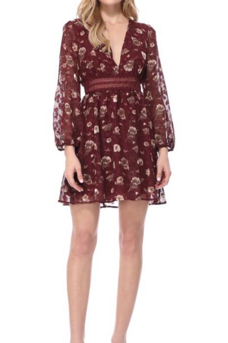Floral vneck babydoll dress
