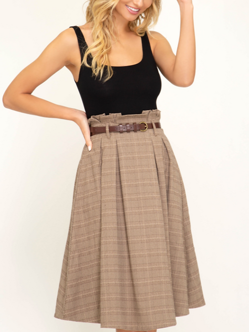 Mocha Plaid Midi Skirt