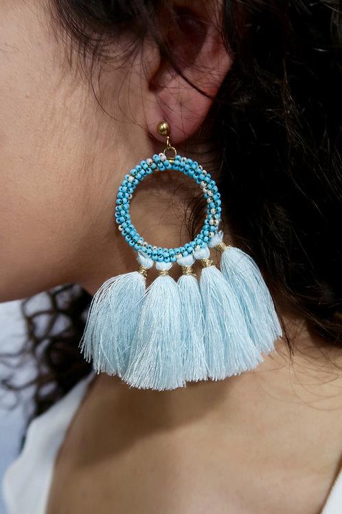 Baby Blue Circle Tassel Earrings