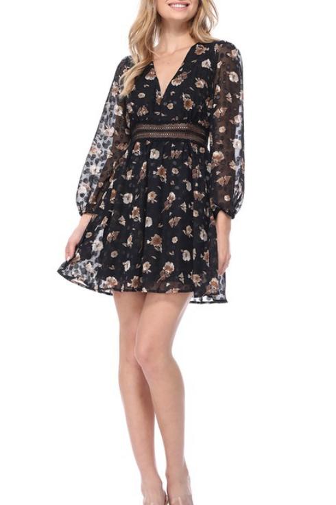 Black Floral V-neck Babydoll Dress