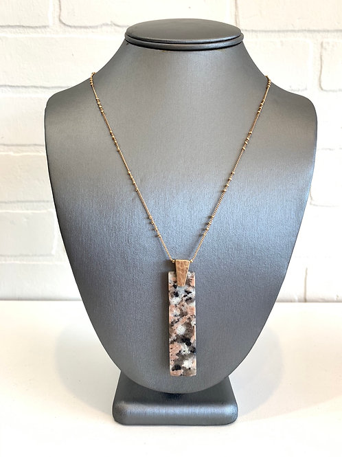 Pink Speckled Pendant Necklace
