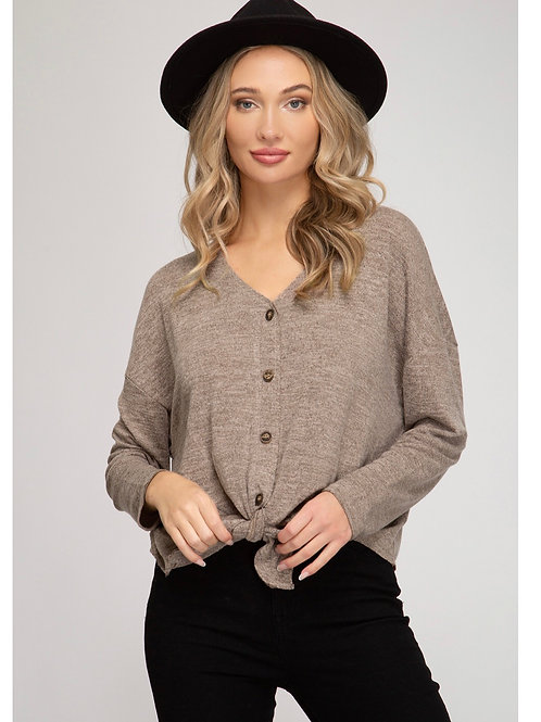Taupe Front Tie Button Top