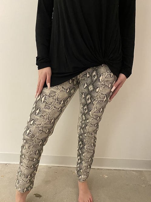 Cream Snake Print Pants