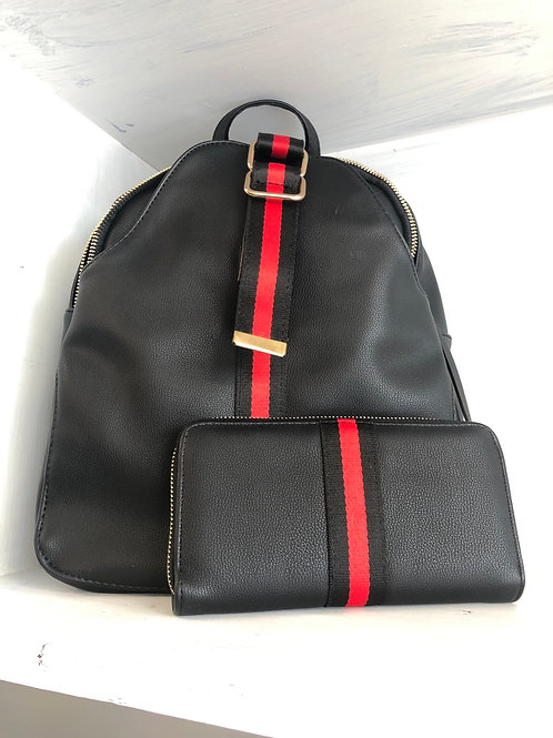 Black Red Stripe Backpack