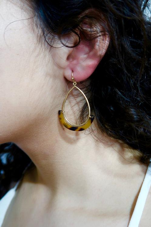 Brown Tortoise Teardrop Earrings