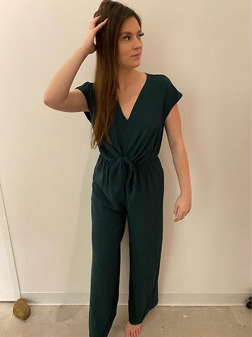 Green Front Tie Jumpsuit