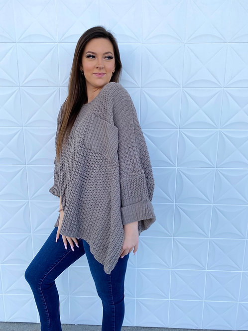 Mocha Oversize Pocket Sweater