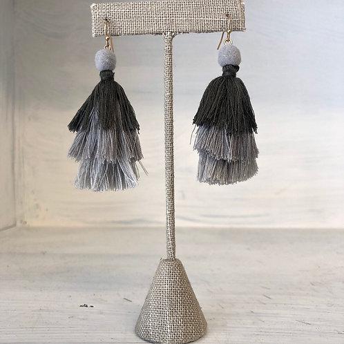 Black/Grey Layer Tassel Earrings