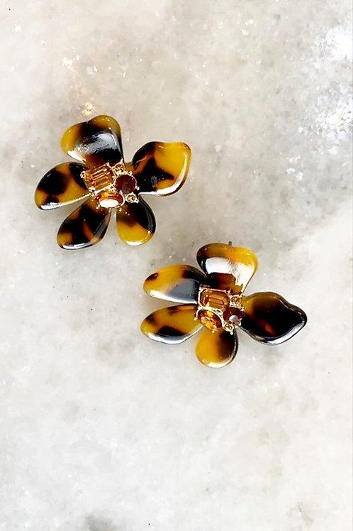 Leopard Print Flower Earrings