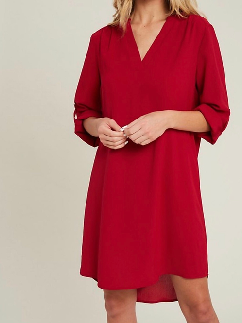 Red wine shift dress
