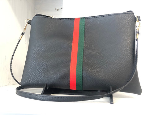 Red/Green Stripe Crossbody Clutch