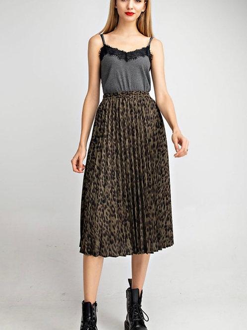 Olive Leopard Pleated Skirt