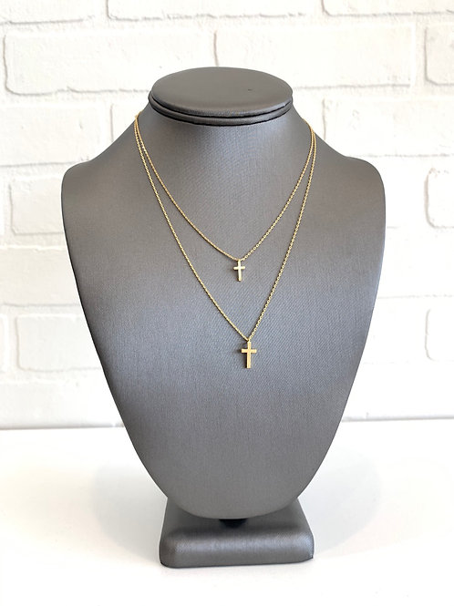 Gold Double Cross Layered Necklace