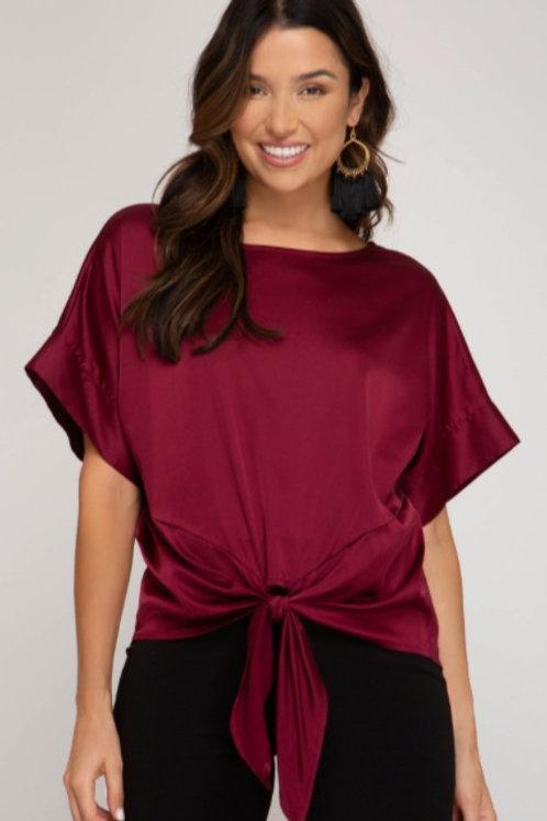 Wine Silk Front Tie Top