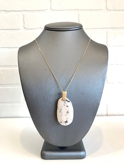 White Oval Pendant Necklace