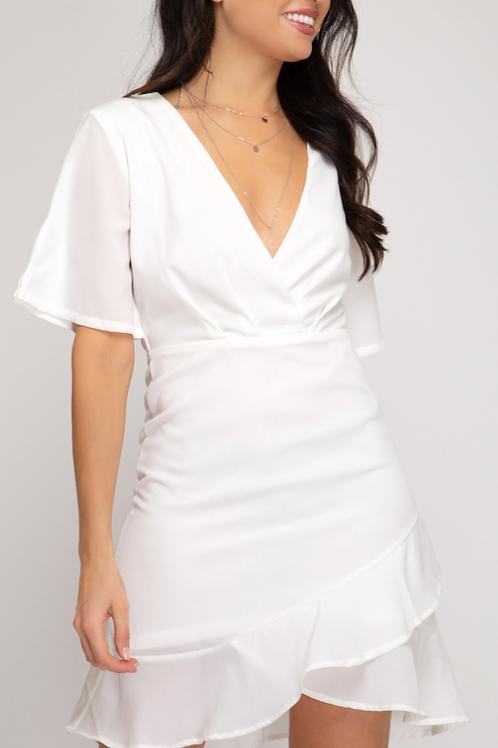White Flutter Sleeve V Neck Dress