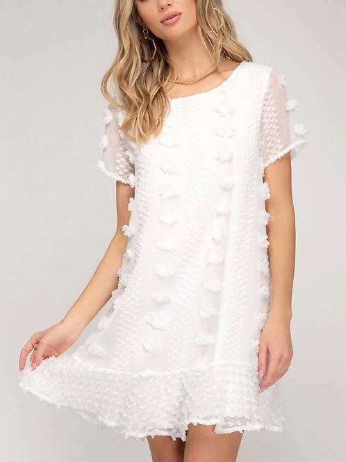 White pom pom shift dress