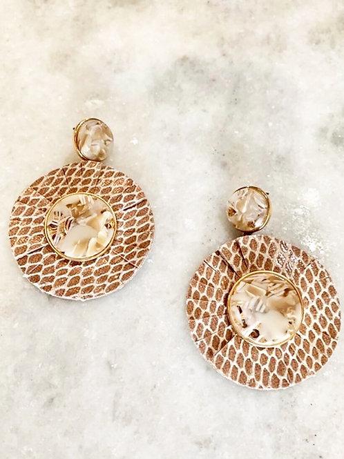 Tan Marble Snake Earrings