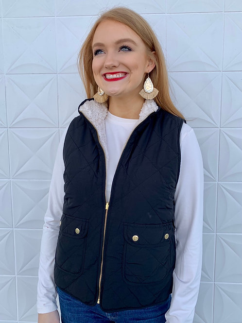 Reversible Quilted Sherpa Vest Black
