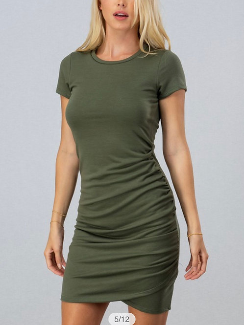 Green Ruched Bodycon Dress