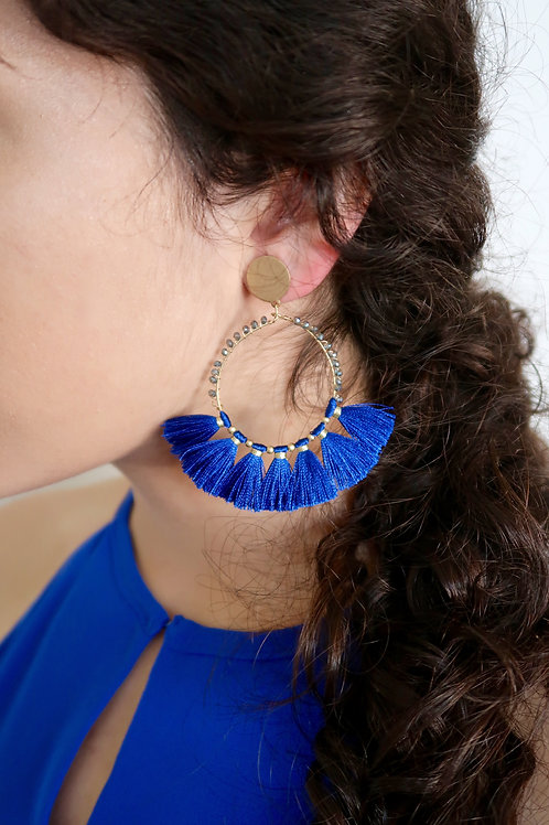 Blue Tassel Statement Earrings
