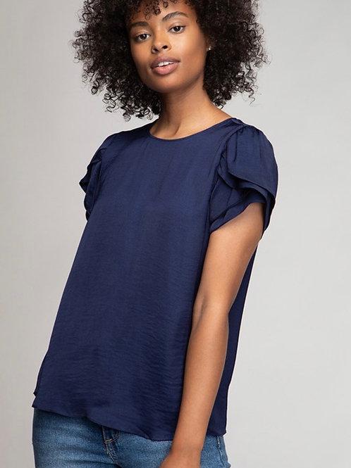 Navy Layered Sleeve Blouse