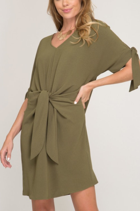 Olive Tie Front Dress