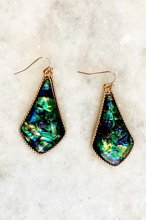 Green Blue Abalone earrings