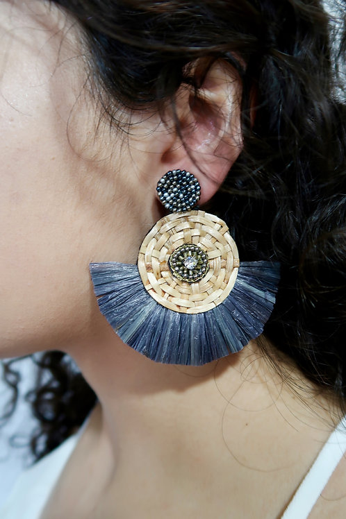 Grey Wicker Tassel Earrings