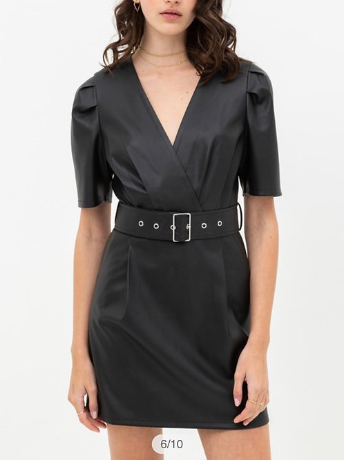 Pleather Belted Dress