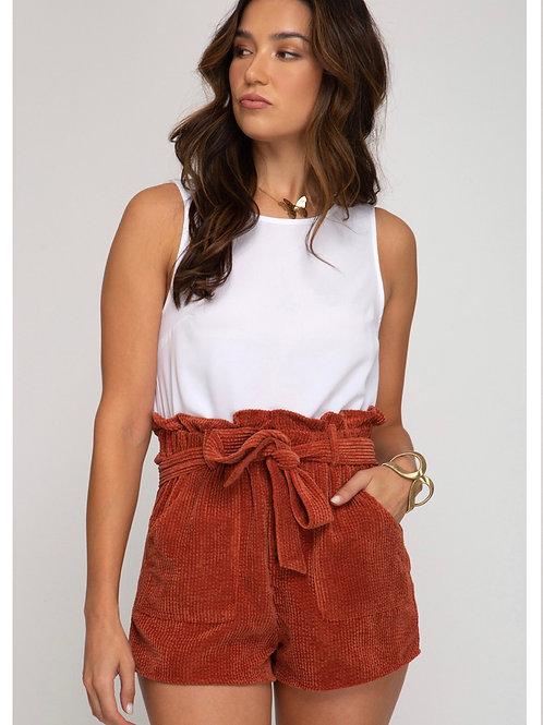 Rust corduroy Shorts