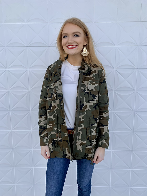 Camo Oversized Military Jacket Light