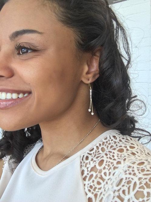 Twin Diamond Drop Earrings