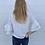 Thumbnail: White pearl ruffle sleeve sweater