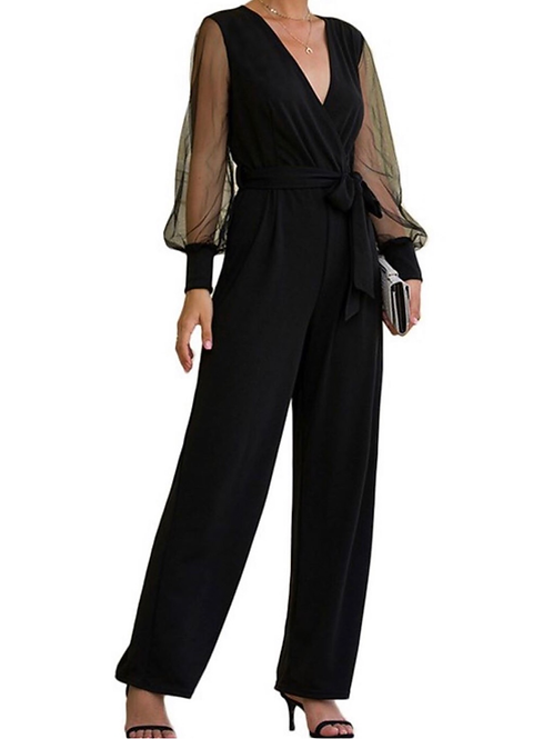 Black sheer sleeve jumpsuit
