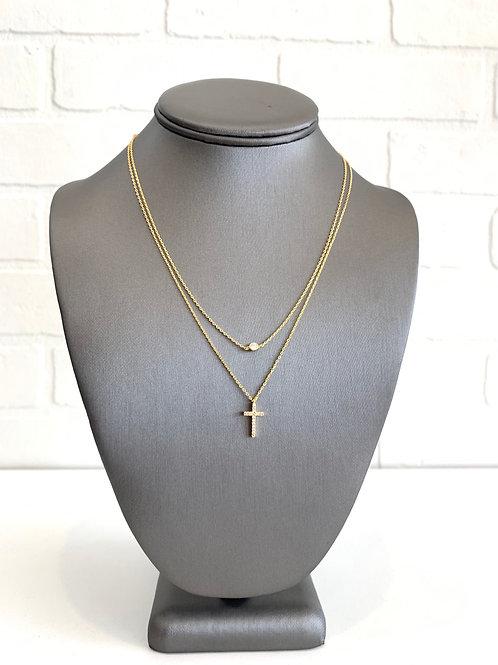 Cross Diamond Pendant Layered Necklace